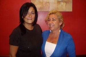 Con Yolanda, propietaria del establecimiento.